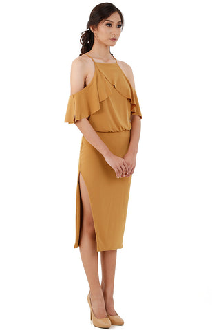 Halter Ruffle Midi Dress-Mustard