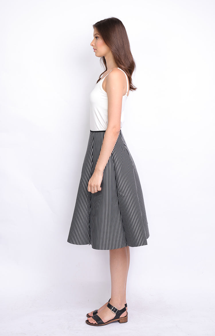 Black White Stripe Neoprene Midi Skirt