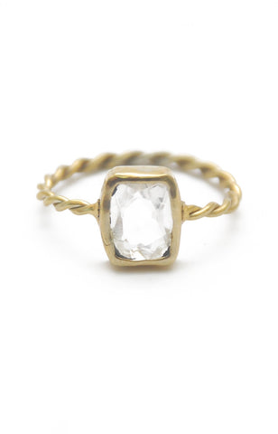 Panopio Stackable Ring - Crystal Quartz Emerald