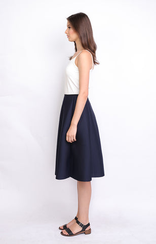 Navy Blue Neoprene Midi Skirt