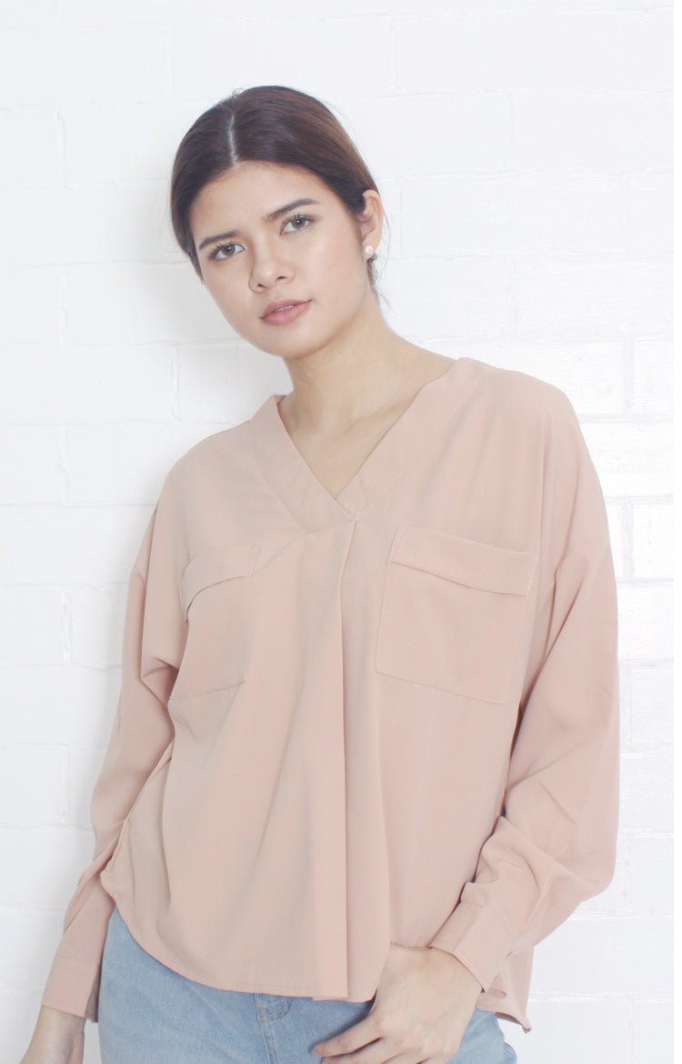 V-Neck Blouse with Front Pockets in Nude