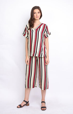 Maroon Stripes Top and Culottes (SET)
