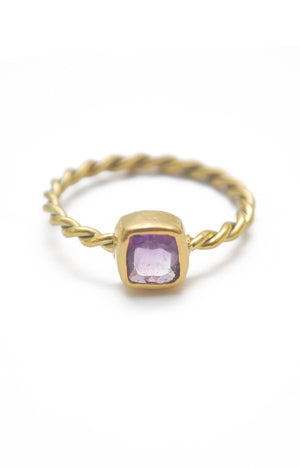 Panopio Stackable Ring - Amethyst Cushion