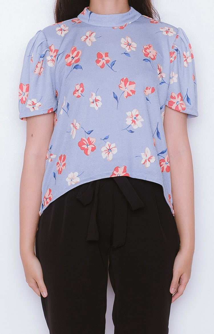 Sakura Top in Floral Blue