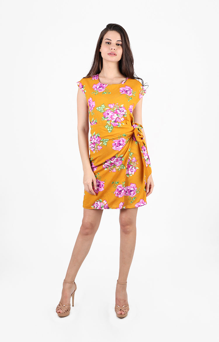 Krystal Floral Dress with Wrap Skirt