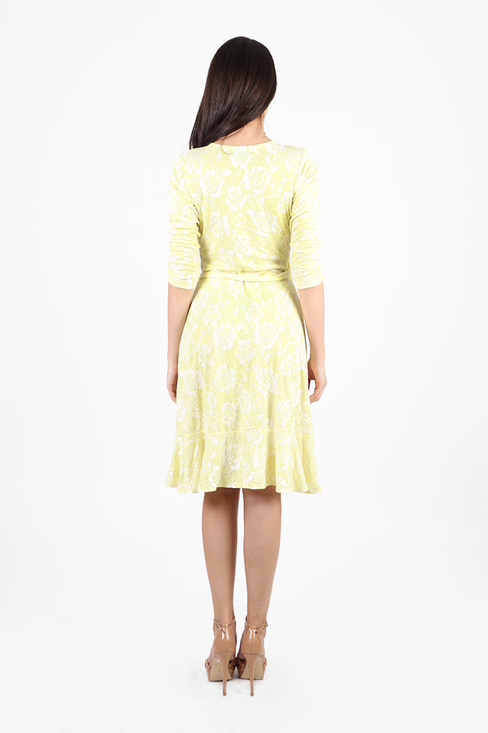 Regine V-Neck Wrap Dress with Ruffle Skirt in Yellow