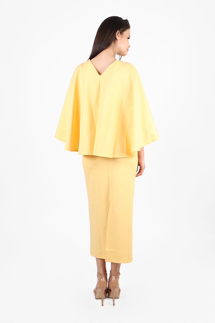 Athens Cape Gown in Yellow