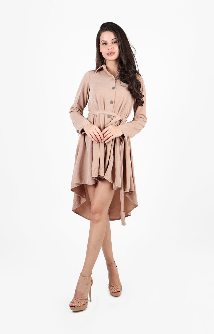 Yuna Asymmetrical Hem Shirt Dress in Tan