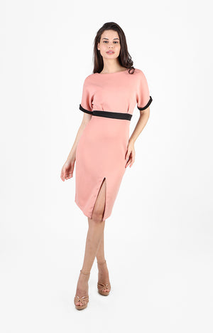 Ophelia Boat Neck Dress in Pink