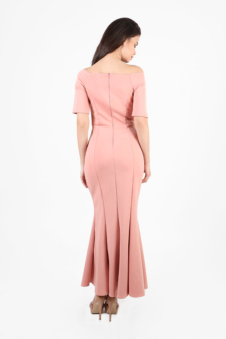 Alessia Off Shoulder Sweetheart Gown in Pink
