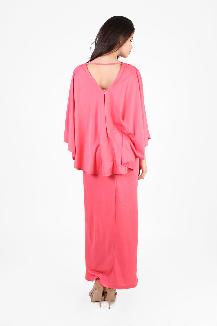 Rania Cape Maxi Dress in Coral Pink