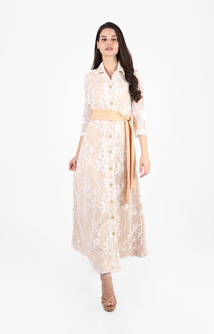 Minka Maxi Formal Dress in Nude/ Ivory Lace