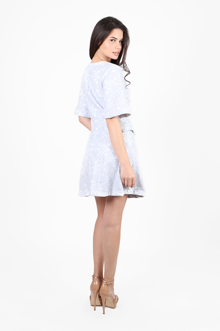 Bridgette Lace Fit And Flare Dress With Short Sleeves