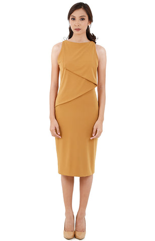 Layered Midi Dress-Mustard