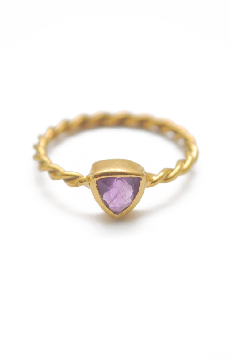 Panopio Stackable Ring - Amethyst Trillion