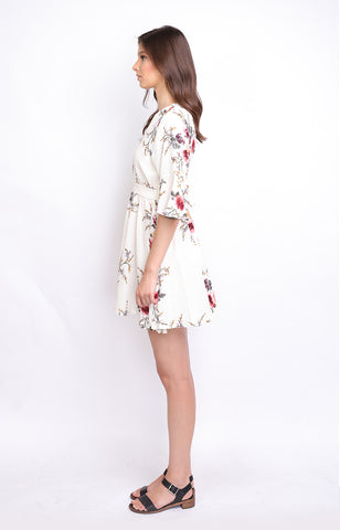 White Floral Overlap Midi Dress