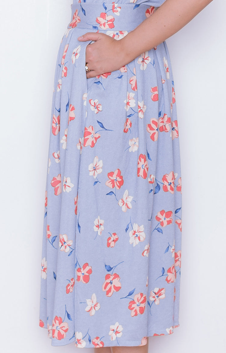 Hanami Skirt in Floral Blue