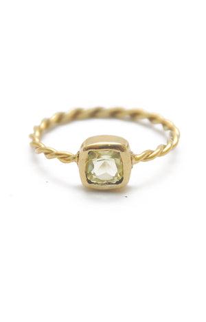 Panopio Stackable Ring - Lemon Quartz Cushion