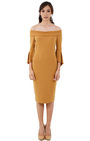 Off-Shoulder Midi Dress-Mustard
