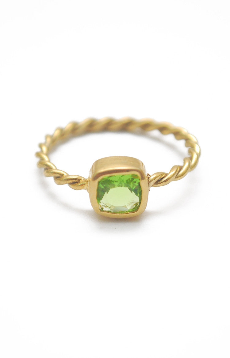 Panopio Stackable Ring - Peridot Cushion
