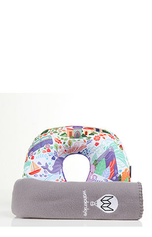 Doodle Quest Neck Pillow with Blanket