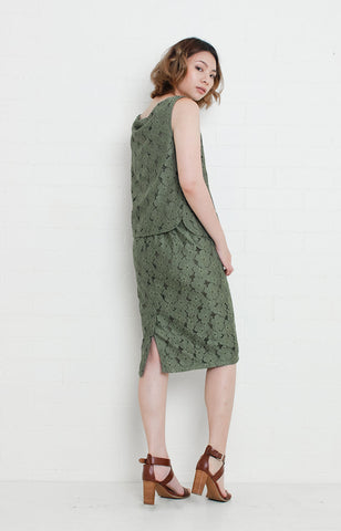 Sleeveless Lace Blouse and Skirt Set in Oive Green