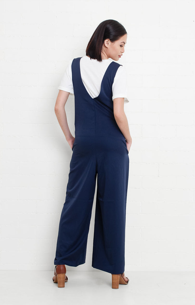 Sleeveless V-neck Jumpsuit in Blue