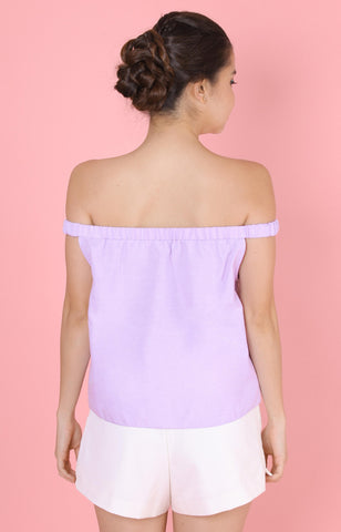 Tulip Off-Shoulder Top-Purple