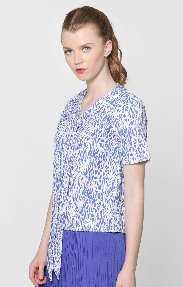 Grace Top- Blue Printed