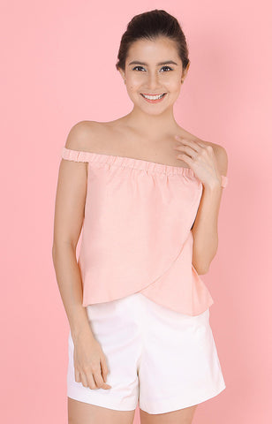 Tulip Off-Shoulder Top-Blush