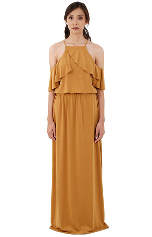 Halter Ruffle Maxi Dress-Mustard