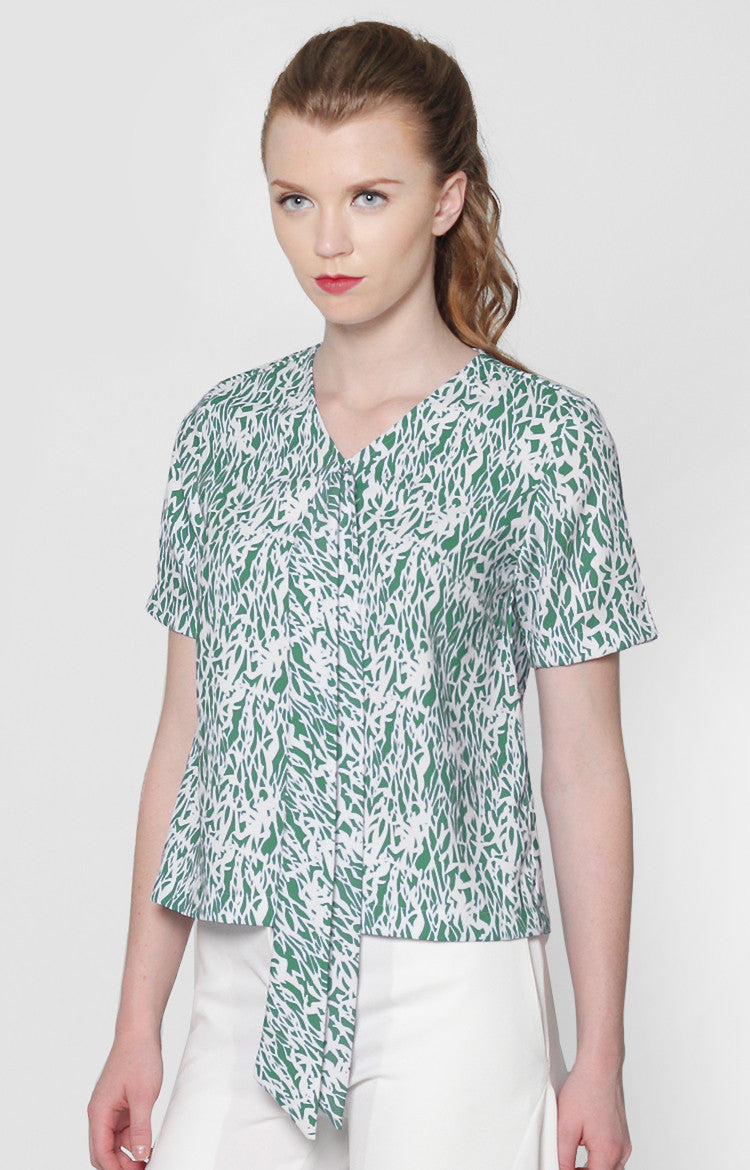 Grace Top- Green Printed