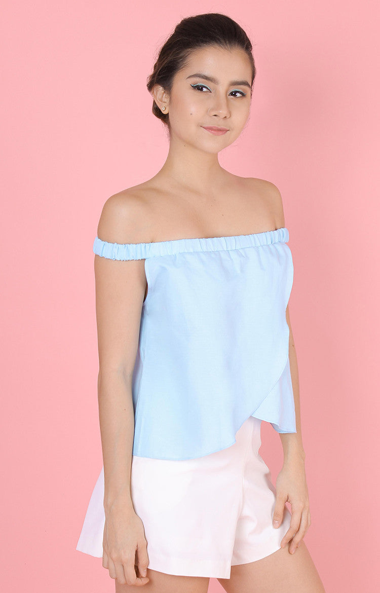 Tulip Off-Shoulder Top-Light Blue