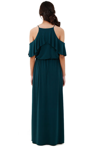 Halter Ruffle Maxi Dress-Cobalt