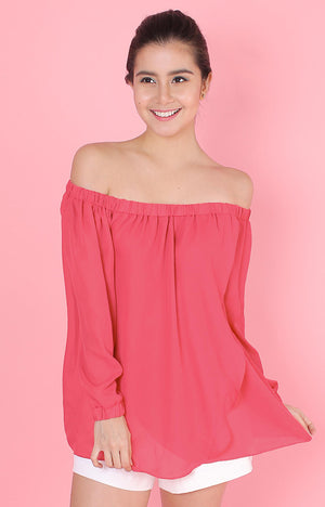 Long Sleeved Off Shoulder Top-Pink
