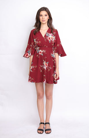 Maroon Floral Overlap Midi Dress