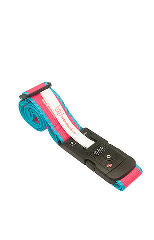 Plain Pink Luggage Strap with Digital Weighing Scale
