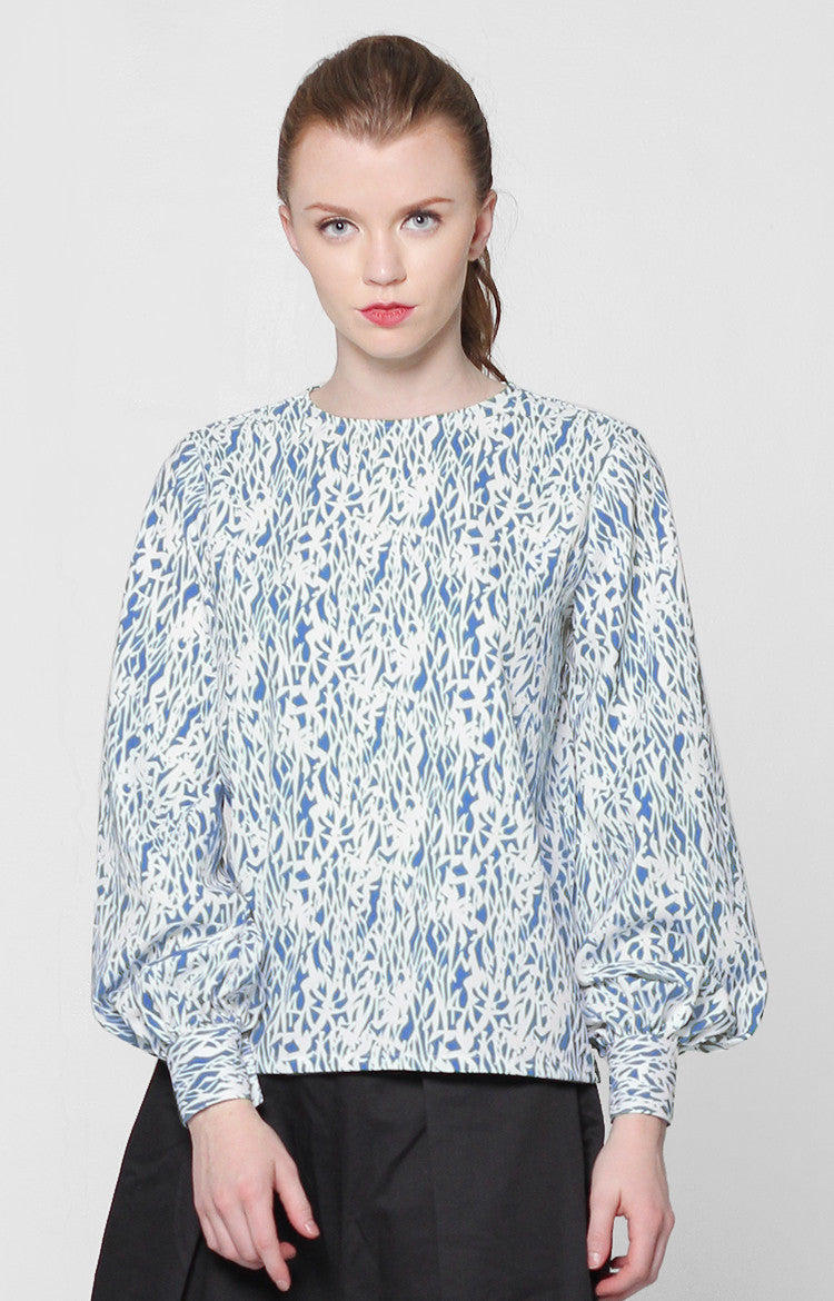 Jessica Top- Blue Printed