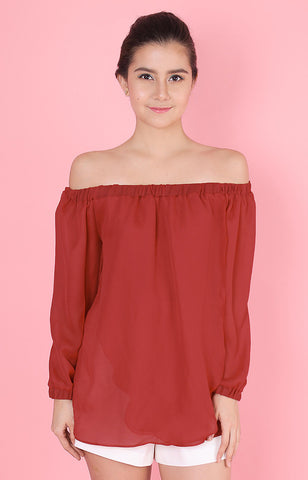 Long Sleeved Off Shoulder Top-Red