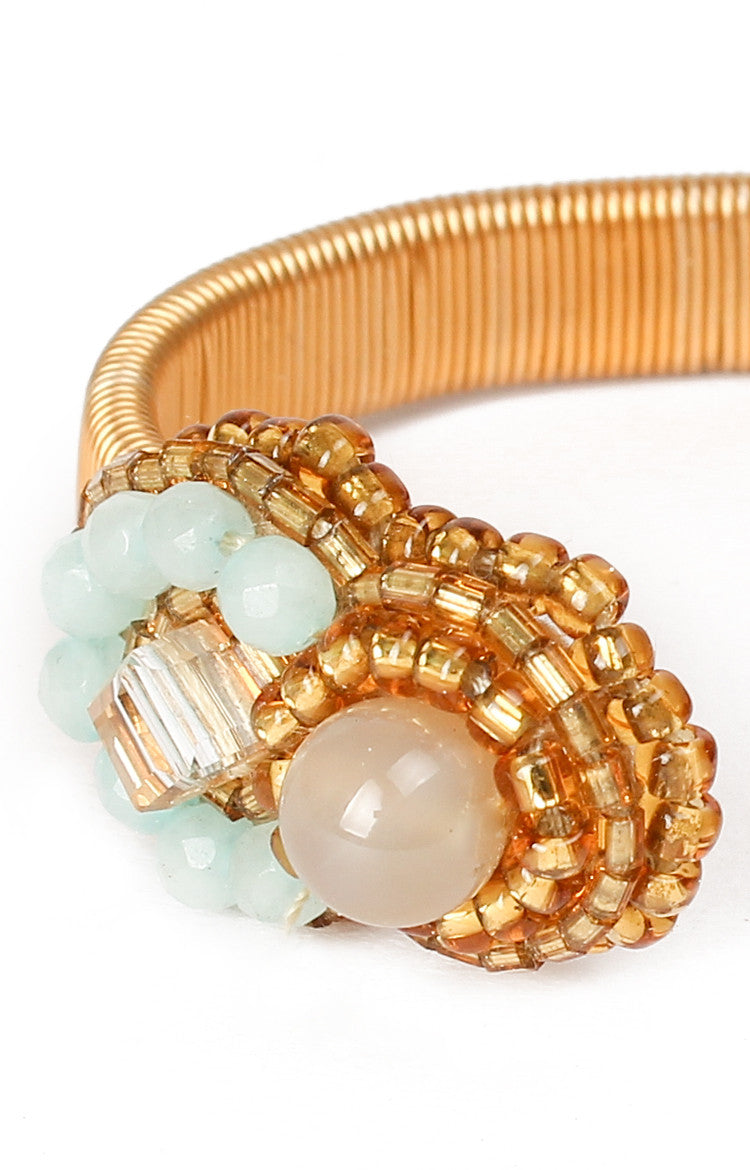 Crystal Open Bangle-Aquamarine