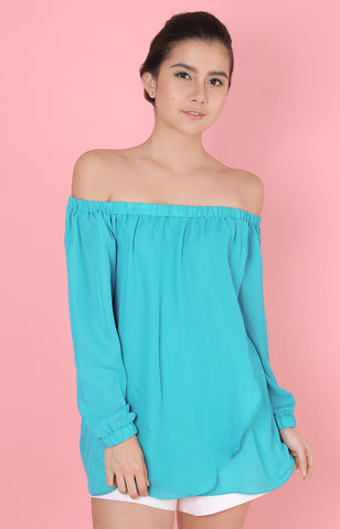 Long Sleeved Off Shoulder Top-Turquoise