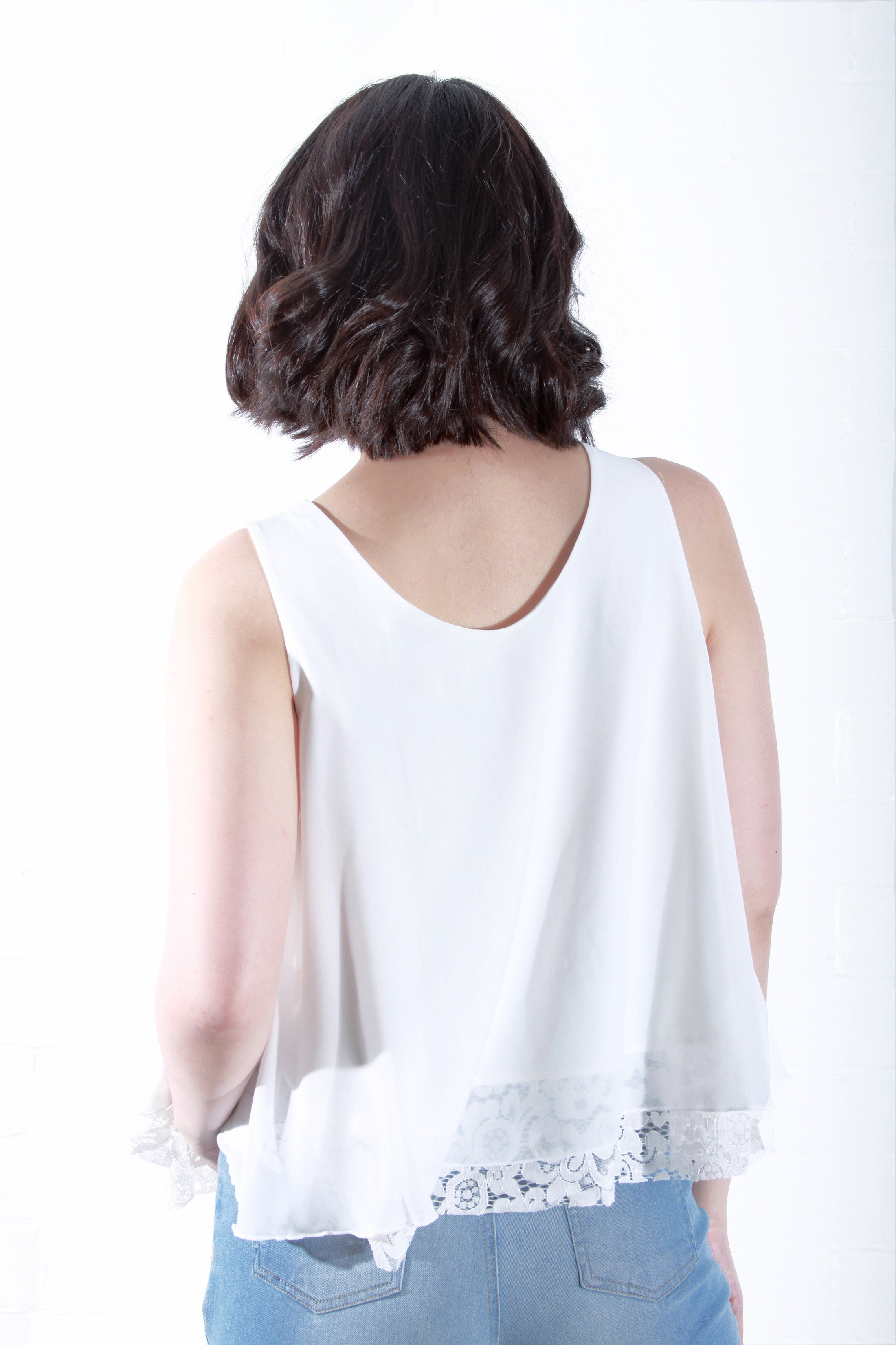 Sleeveless Top with Lace Detail in White
