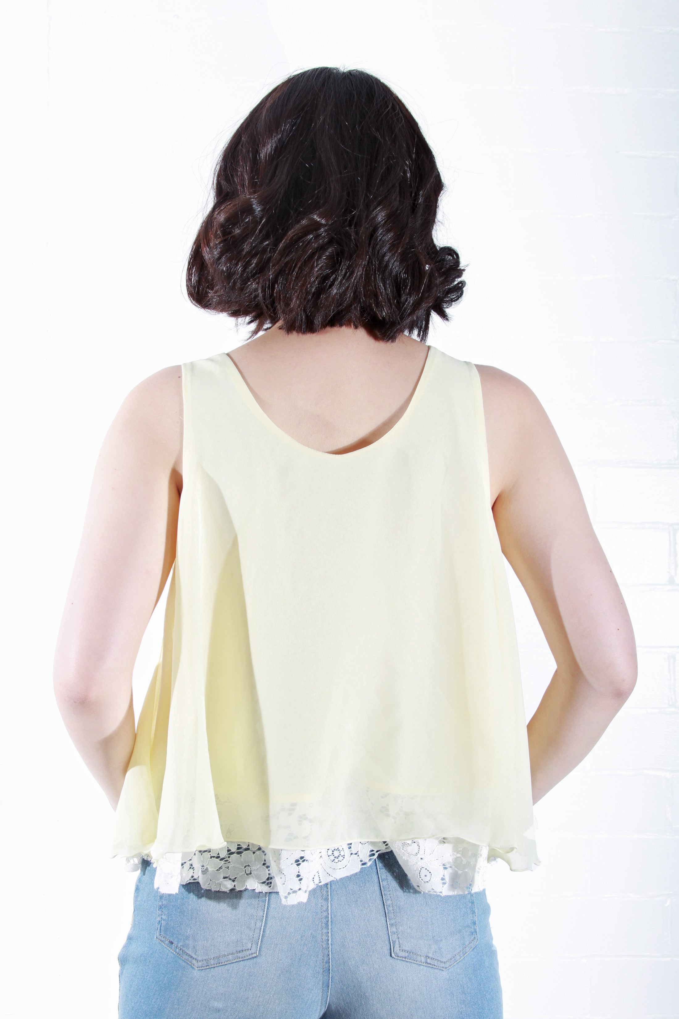 Sleeveless Top with Lace Detail in Yellow