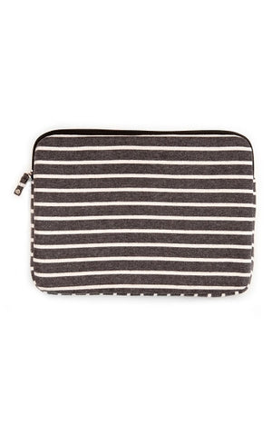 "15"" Striped Fleece Laptop Case - Charcoal"