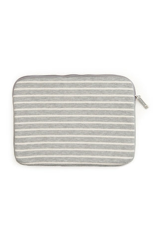 "15"" Striped Fleece Laptop Case - Light Grey"