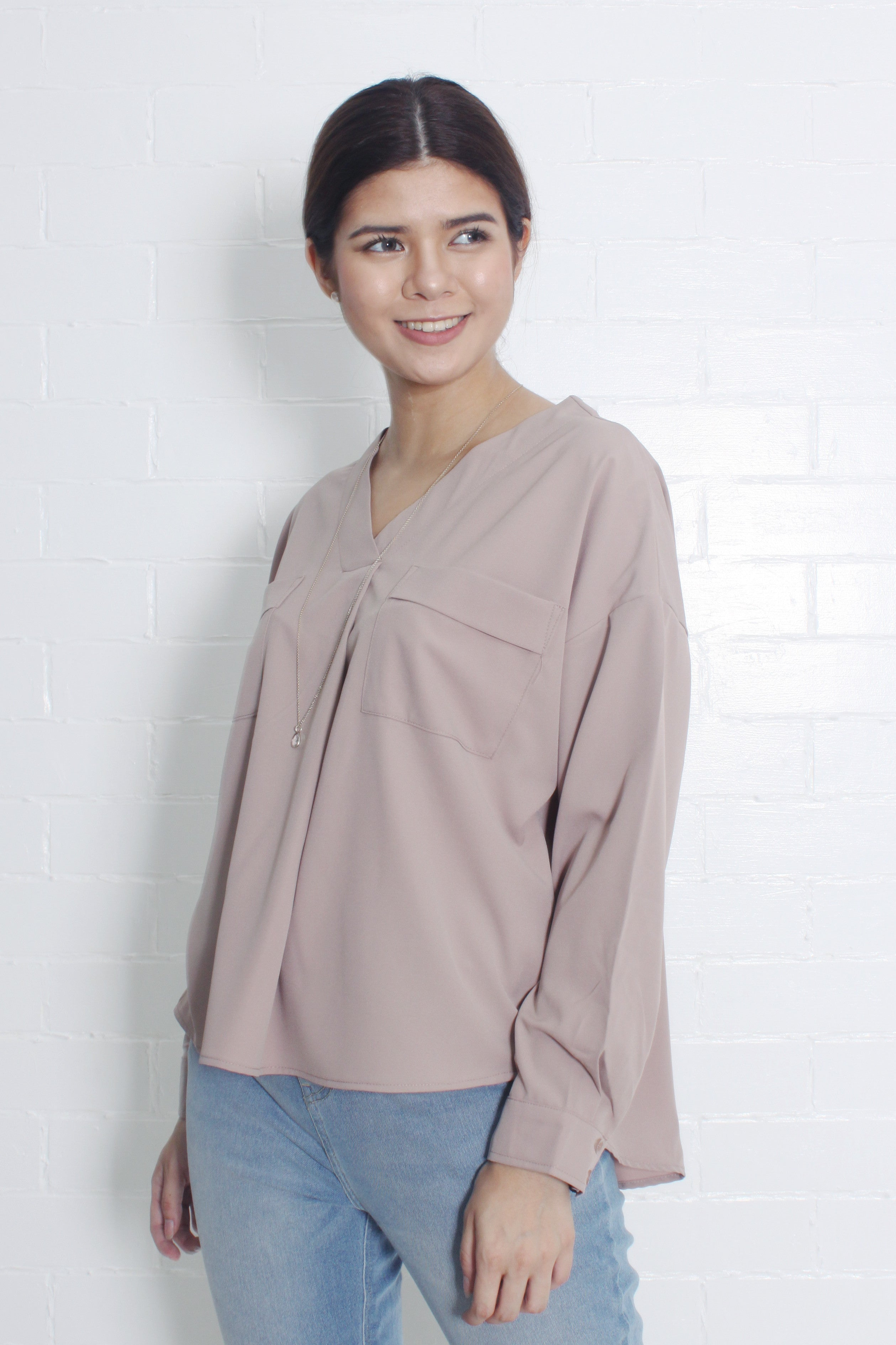 V-Neck Blouse with Front Pockets in Taupe