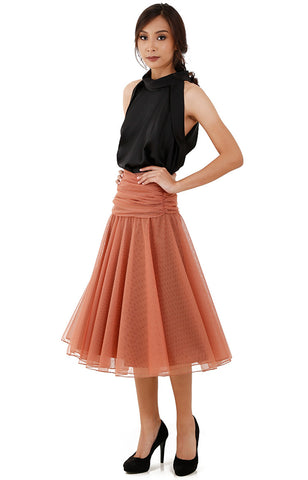 Pleated Tulle Midi Skirt-Brown
