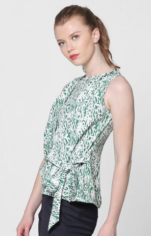 Jordana Top- Green Printed