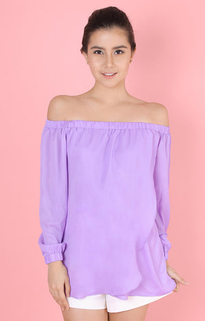 Long Sleeved Off Shoulder Top-Purple