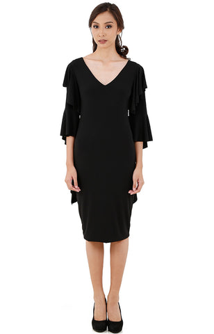 Draped Midi Dress-Black